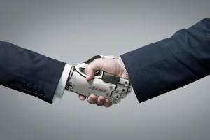podávání ruky s robotickou rukou