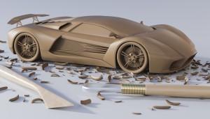 Hliněný model - připraven na vyhlazování ploch
