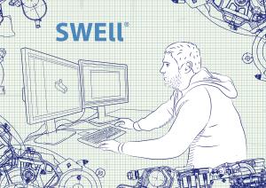 ilustrace konstruktéra u počítače Swell