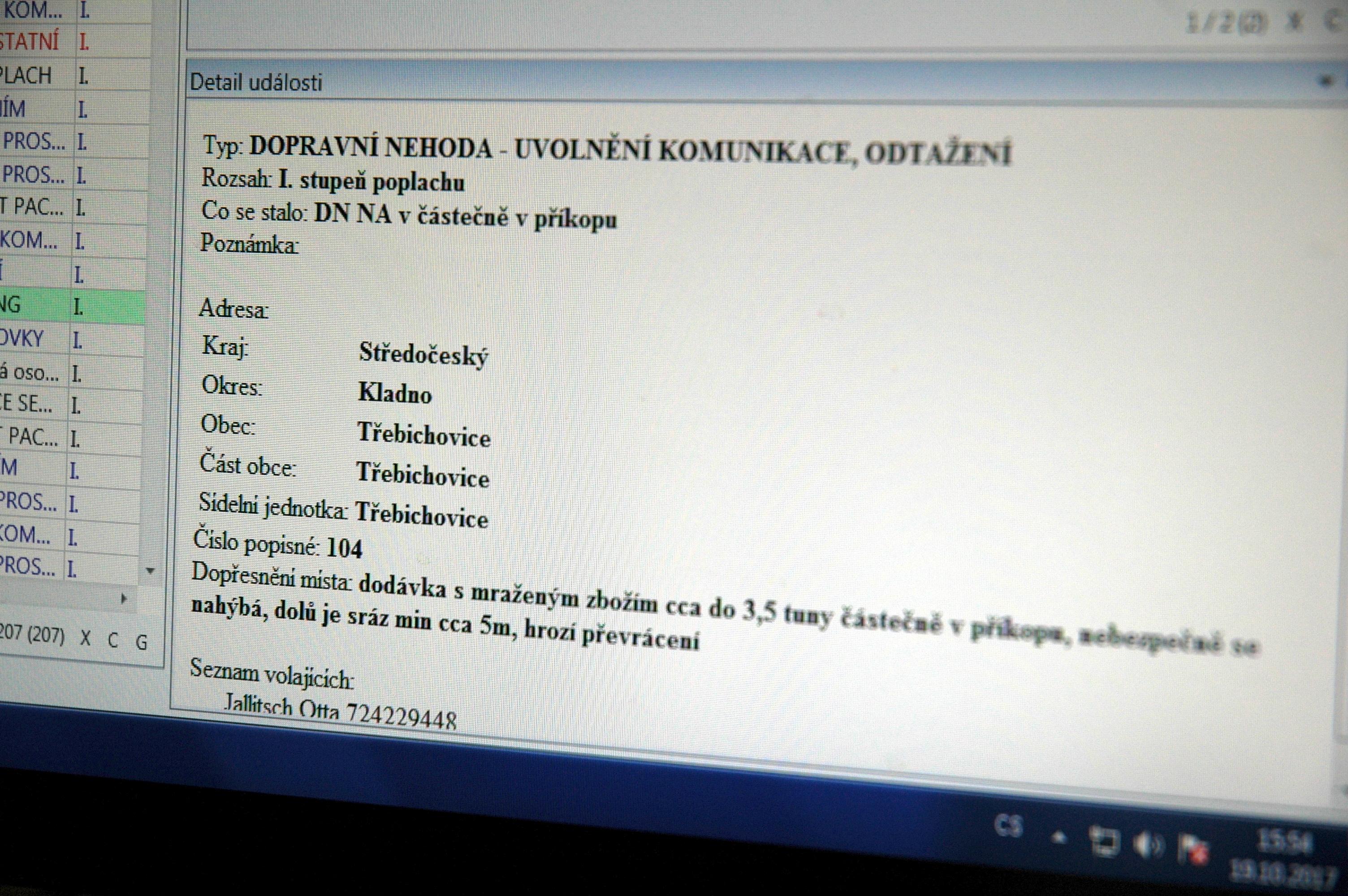 Zobrazení na infopanelu v garážích hasičů   Foto: HZS Středočeského kraje