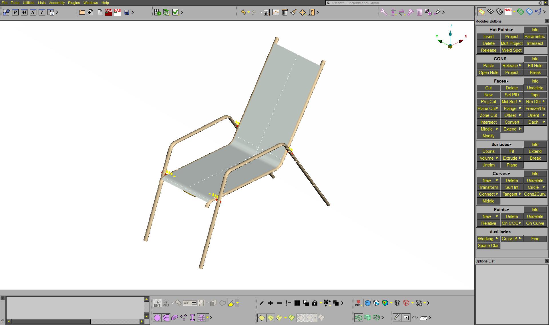 Výpočtové FE modely židle