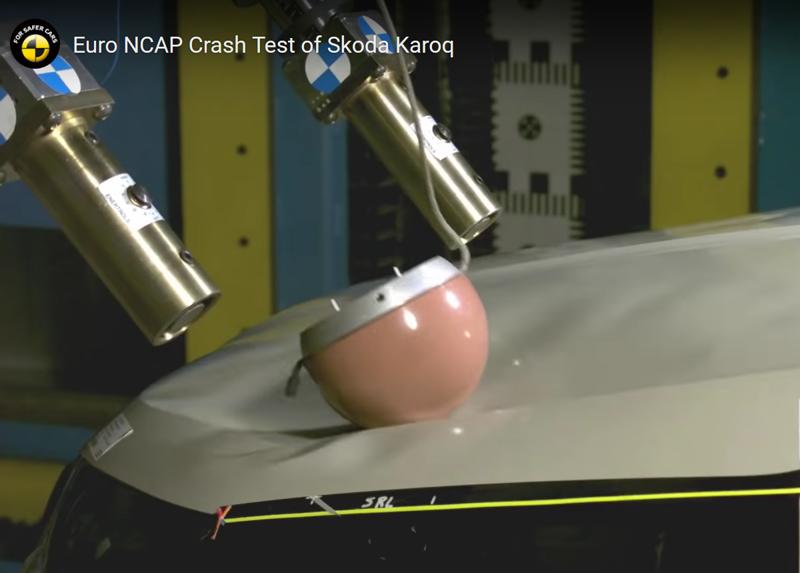Nárazové zkoušky EuroNCAP Škody Karoq - impaktor hlavy | Foto: EuroNCAP